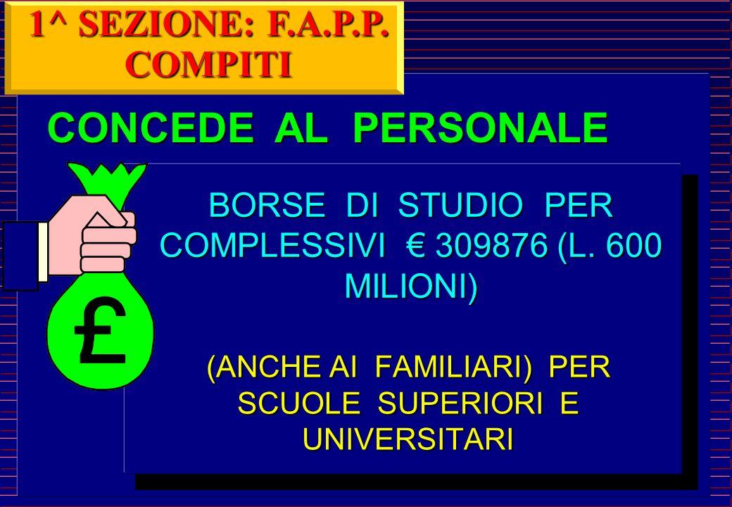CONCEDE AL PERSONALE (ANCHE AI FAMILIARI) PER SCUOLE SUPERIORI E UNIVERSITARI BORSE DI STUDIO PER COMPLESSIVI 309876 (L.