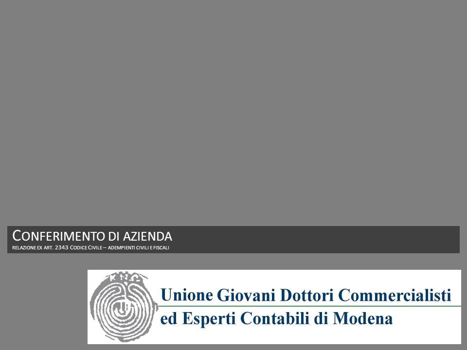 C ONFERIMENTO DI AZIENDA RELAZIONE EX ART. 2343 C ODICE C IVILE – ADEMPIENTI CIVILI E FISCALI