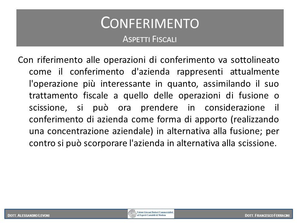Con riferimento alle operazioni di conferimento va sottolineato come il conferimento d'azienda rappresenti attualmente l'operazione più interessante i