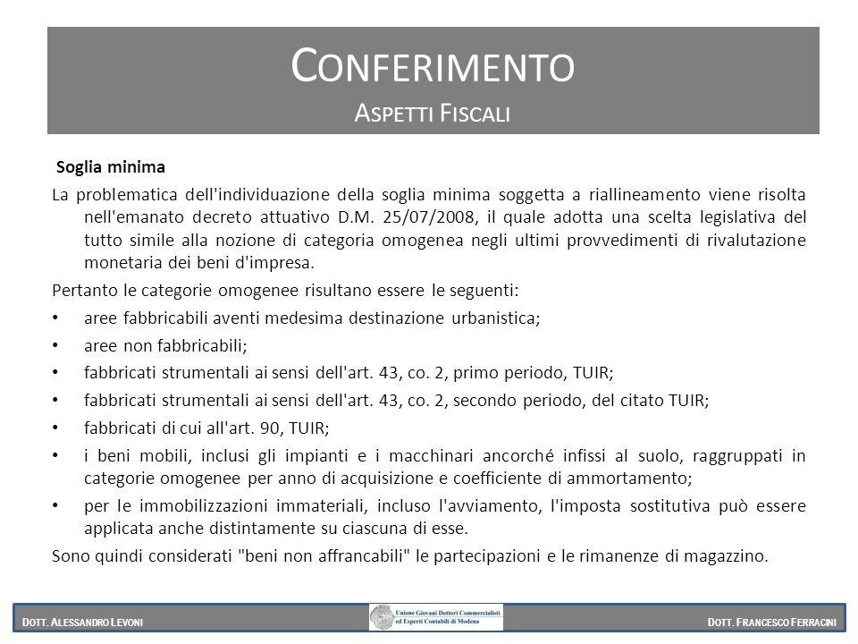 Soglia minima La problematica dell'individuazione della soglia minima soggetta a riallineamento viene risolta nell'emanato decreto attuativo D.M. 25/0