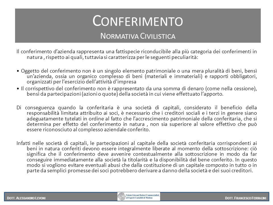 Normativa civilistica (2343) Il conferimento dazienda rappresenta una fattispecie riconducibile alla più categoria dei conferimenti in natura, rispett