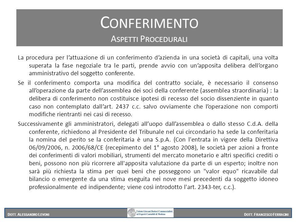 Aspetti procedurali La procedura per lattuazione di un conferimento dazienda in una società di capitali, una volta superata la fase negoziale tra le p