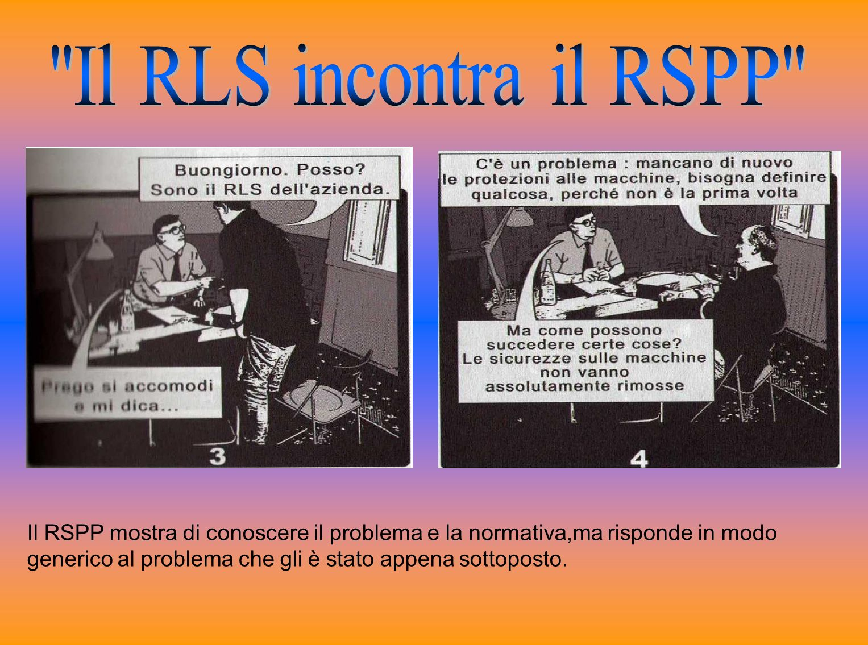 Il RSPP mostra di conoscere il problema e la normativa,ma risponde in modo generico al problema che gli è stato appena sottoposto.