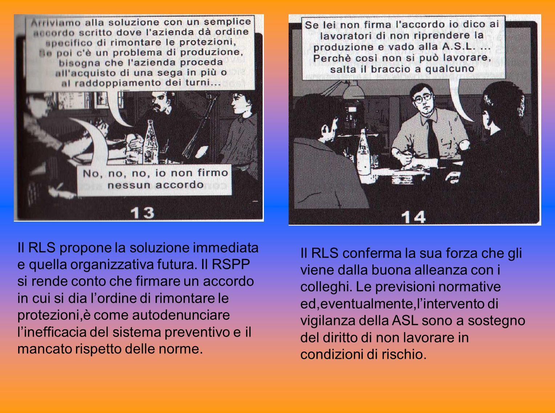 Il RLS propone la soluzione immediata e quella organizzativa futura. Il RSPP si rende conto che firmare un accordo in cui si dia lordine di rimontare