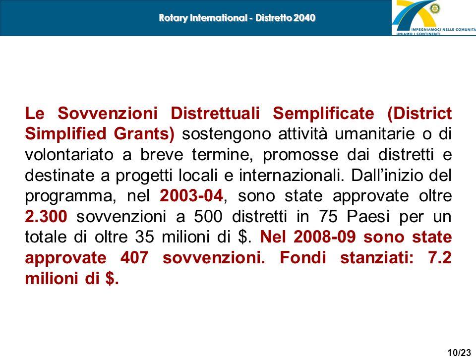 10/23 Rotary International - Distretto 2040 Le Sovvenzioni Distrettuali Semplificate (District Simplified Grants) sostengono attività umanitarie o di