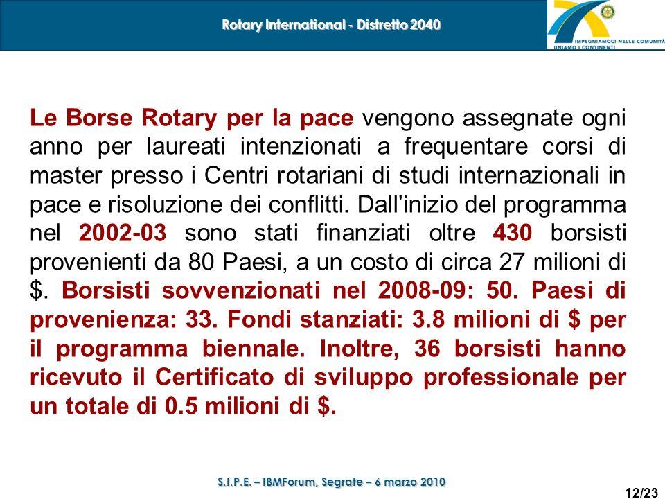 12/23 Rotary International - Distretto 2040 S.I.P.E. – IBMForum, Segrate – 6 marzo 2010 Le Borse Rotary per la pace vengono assegnate ogni anno per la