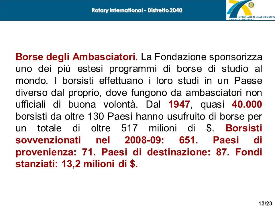 13/23 Rotary International - Distretto 2040 Borse degli Ambasciatori. La Fondazione sponsorizza uno dei più estesi programmi di borse di studio al mon