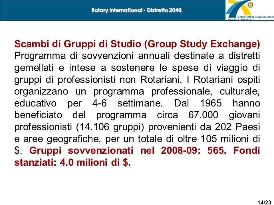 14/23 Rotary International - Distretto 2040 Scambi di Gruppi di Studio (Group Study Exchange) Programma di sovvenzioni annuali destinate a distretti g