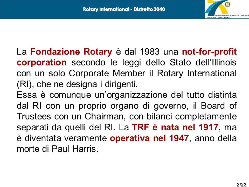 2/23 Rotary International - Distretto 2040 La Fondazione Rotary è dal 1983 una not-for-profit corporation secondo le leggi dello Stato dellIllinois co