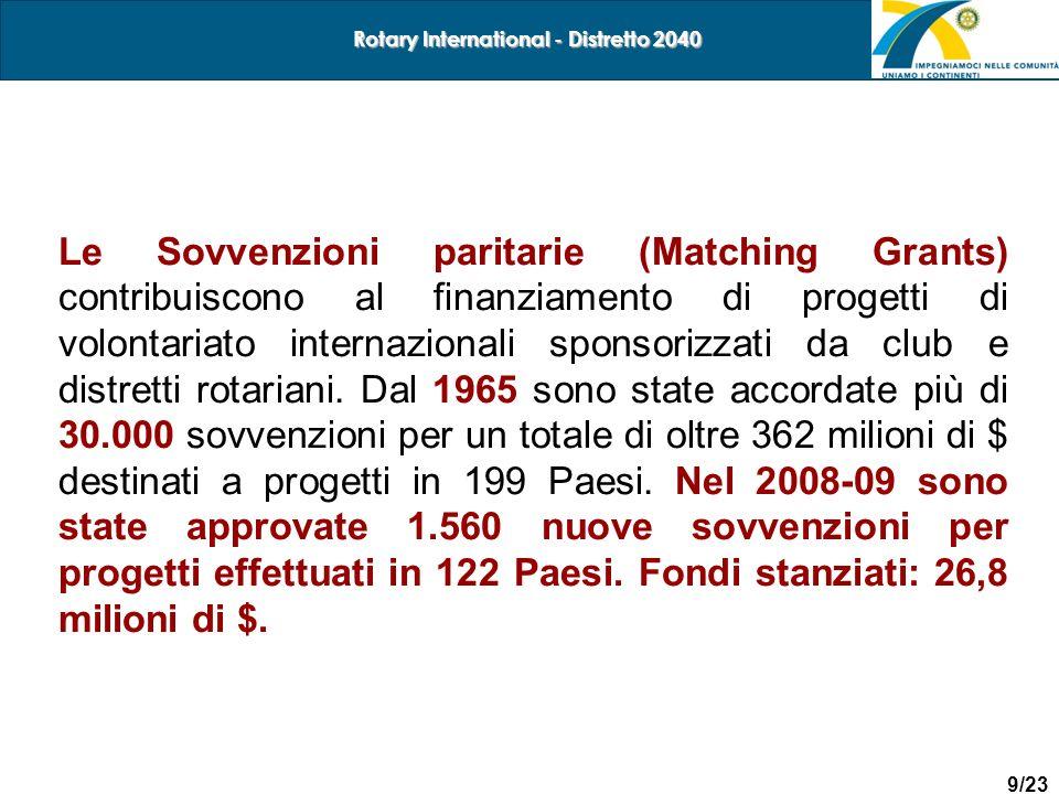 9/23 Rotary International - Distretto 2040 Le Sovvenzioni paritarie (Matching Grants) contribuiscono al finanziamento di progetti di volontariato inte