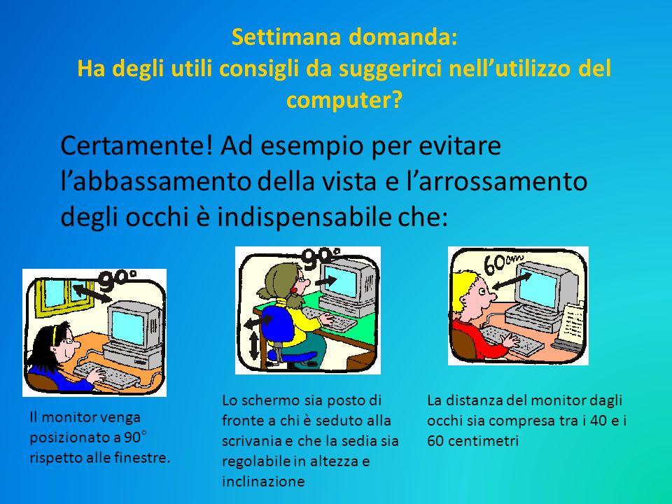 Settimana domanda: Ha degli utili consigli da suggerirci nellutilizzo del computer? Certamente! Ad esempio per evitare labbassamento della vista e lar
