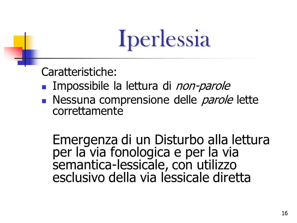 16 Iperlessia Caratteristiche: Impossibile la lettura di non-parole Nessuna comprensione delle parole lette correttamente Emergenza di un Disturbo all