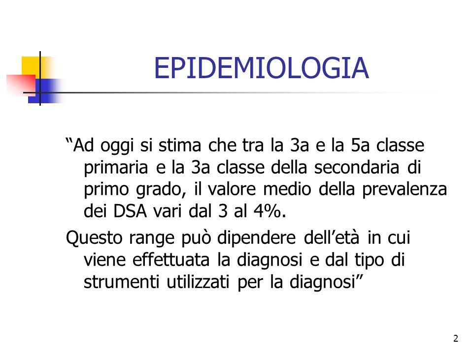 2 EPIDEMIOLOGIA Ad oggi si stima che tra la 3a e la 5a classe primaria e la 3a classe della secondaria di primo grado, il valore medio della prevalenz