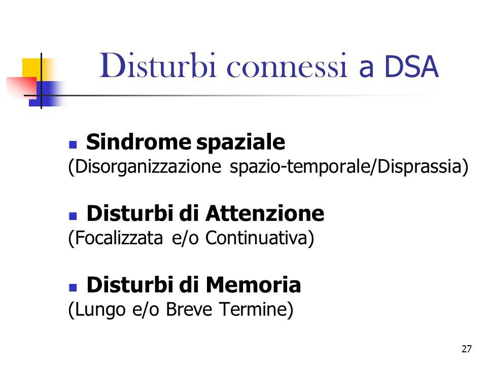 27 Disturbi connessi a DSA Sindrome spaziale (Disorganizzazione spazio-temporale/Disprassia) Disturbi di Attenzione (Focalizzata e/o Continuativa) Dis