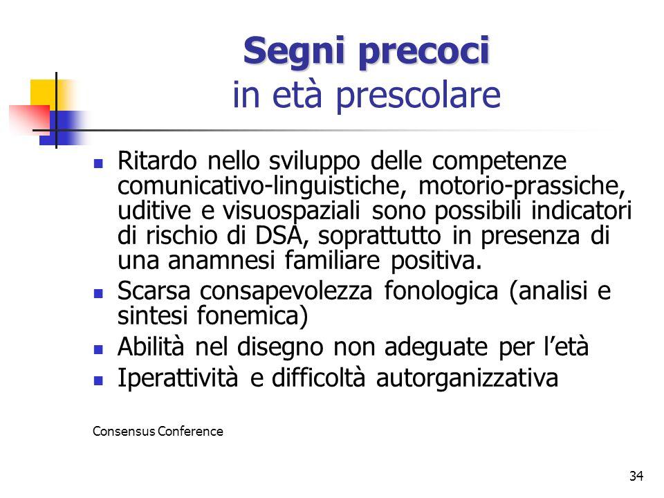 34 Segni precoci Segni precoci in età prescolare Ritardo nello sviluppo delle competenze comunicativo-linguistiche, motorio-prassiche, uditive e visuo