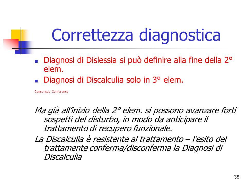 38 Correttezza diagnostica Diagnosi di Dislessia si può definire alla fine della 2° elem. Diagnosi di Discalculia solo in 3° elem. Consensus Conferenc