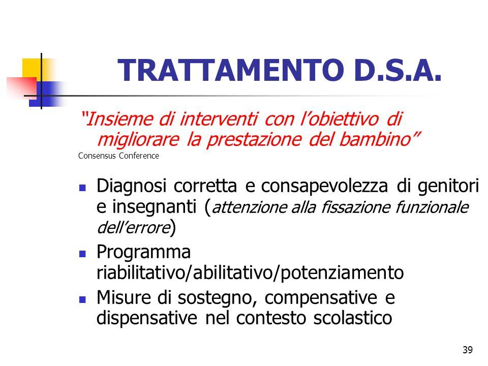 39 TRATTAMENTO D.S.A. Insieme di interventi con lobiettivo di migliorare la prestazione del bambino Consensus Conference Diagnosi corretta e consapevo