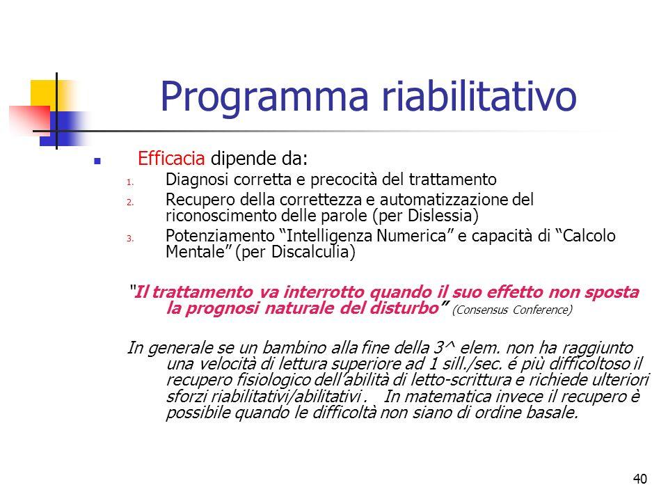 40 Programma riabilitativo Efficacia dipende da: 1. Diagnosi corretta e precocità del trattamento 2. Recupero della correttezza e automatizzazione del