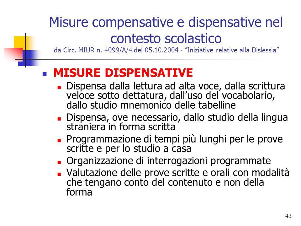 43 Misure compensative e dispensative nel contesto scolastico da Circ. MIUR n. 4099/A/4 del 05.10.2004 - Iniziative relative alla Dislessia MISURE DIS