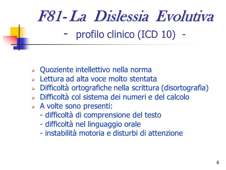6 F81- La Dislessia Evolutiva F81- La Dislessia Evolutiva - profilo clinico (ICD 10) - Quoziente intellettivo nella norma Lettura ad alta voce molto s