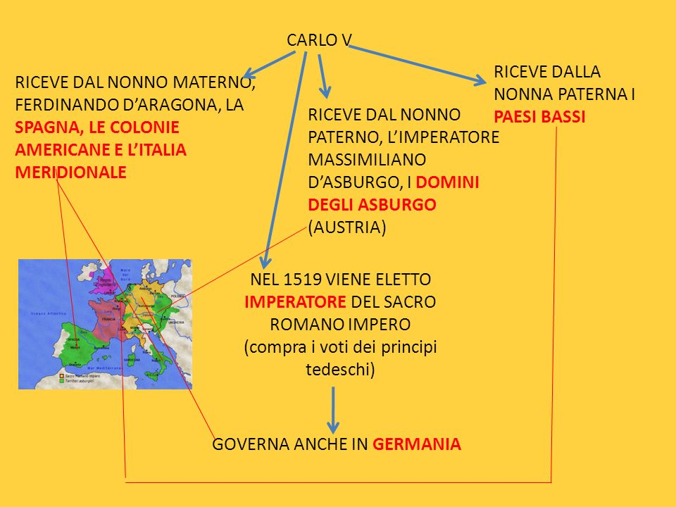 CARLO V RICEVE DAL NONNO MATERNO, FERDINANDO DARAGONA, LA SPAGNA, LE COLONIE AMERICANE E LITALIA MERIDIONALE RICEVE DAL NONNO PATERNO, LIMPERATORE MAS