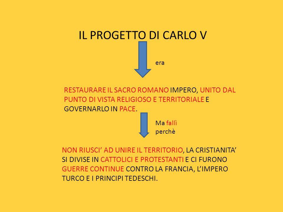 IL PROGETTO DI CARLO V era RESTAURARE IL SACRO ROMANO IMPERO, UNITO DAL PUNTO DI VISTA RELIGIOSO E TERRITORIALE E GOVERNARLO IN PACE. Ma fallì perchè