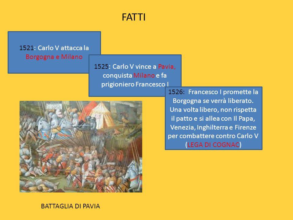 FATTI 1521: Carlo V attacca la Borgogna e Milano 1525: Carlo V vince a Pavia, conquista Milano e fa prigioniero Francesco I 1526: Francesco I promette