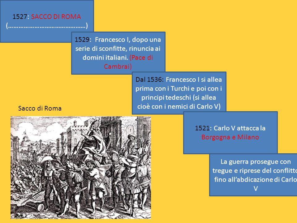1527: SACCO DI ROMA (………………………………………) 1529: Francesco I, dopo una serie di sconfitte, rinuncia ai domini italiani. (Pace di Cambrai) Dal 1536: Frances