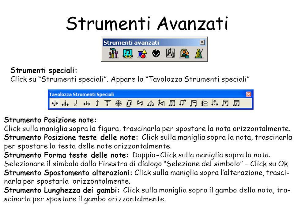 Strumenti Avanzati Strumenti speciali: Click su Strumenti speciali. Appare la Tavolozza Strumenti speciali Strumento Posizione note: Click sulla manig
