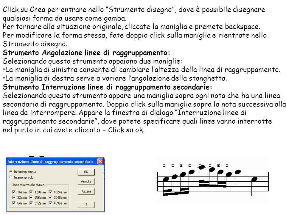Estensione linee di raggruppamento: Click in una misura che contenga delle note raggruppate.