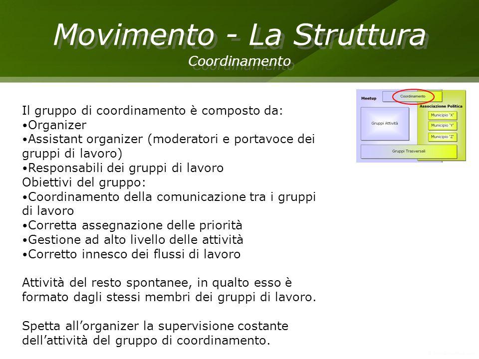 Movimento - La Struttura Coordinamento Movimento - La Struttura Coordinamento Il gruppo di coordinamento è composto da: Organizer Assistant organizer