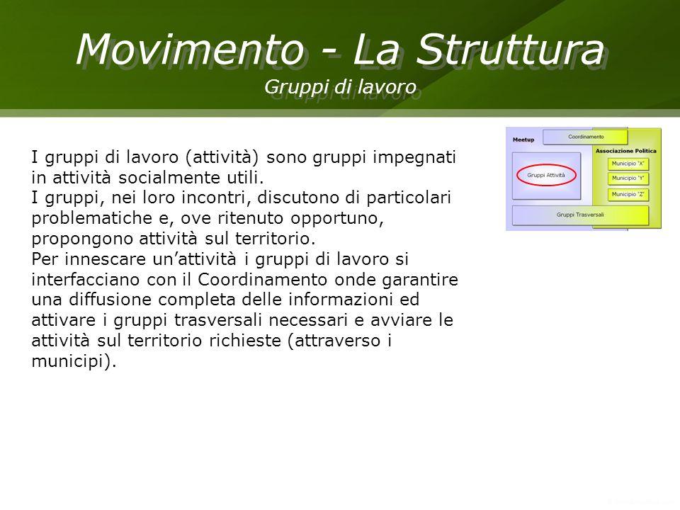 Movimento - La Struttura Gruppi di lavoro Movimento - La Struttura Gruppi di lavoro I gruppi di lavoro (attività) sono gruppi impegnati in attività so
