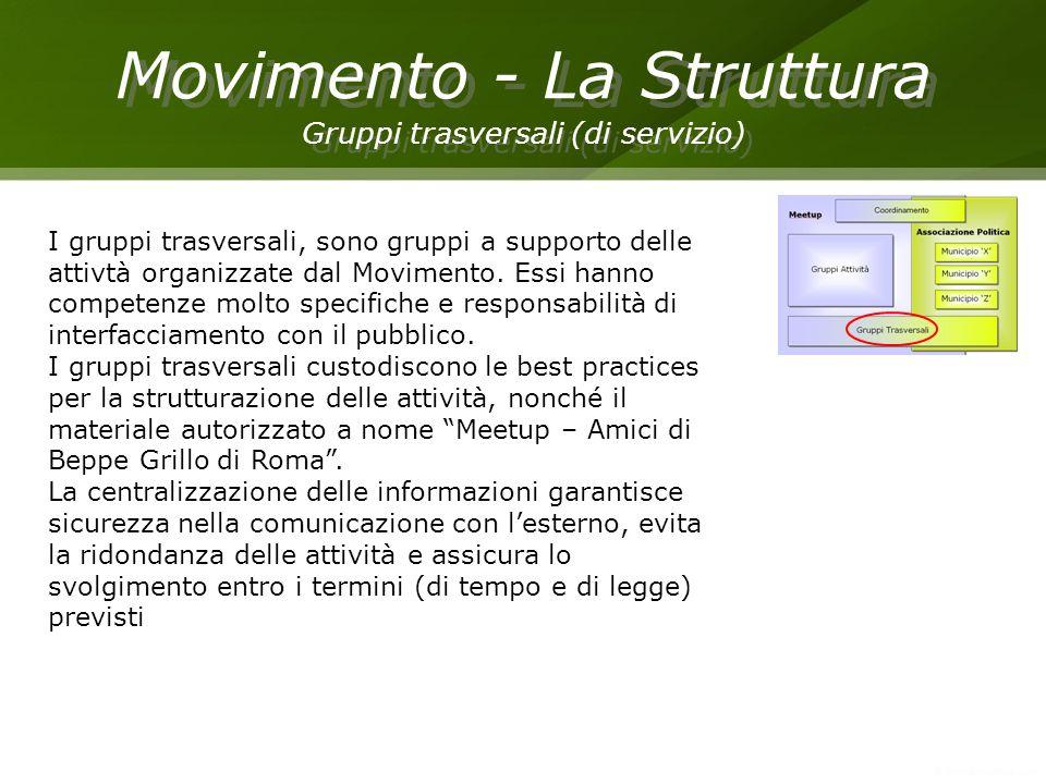 Movimento - La Struttura Gruppi trasversali (di servizio) Movimento - La Struttura Gruppi trasversali (di servizio) I gruppi trasversali, sono gruppi