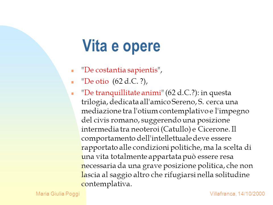 Maria Giulia Poggi Villafranca, 14/10/2000 Vita e opere n