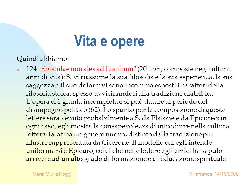 Maria Giulia Poggi Villafranca, 14/10/2000 Vita e opere Quindi abbiamo: n 124