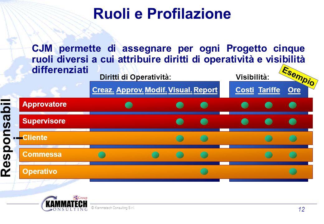 © Kammatech Consulting S.r.l. 12 Ruoli e Profilazione Creaz.Approv.Modif.Visual.Report Diritti di Operatività: CostiTariffeOre Visibilità: Approvatore