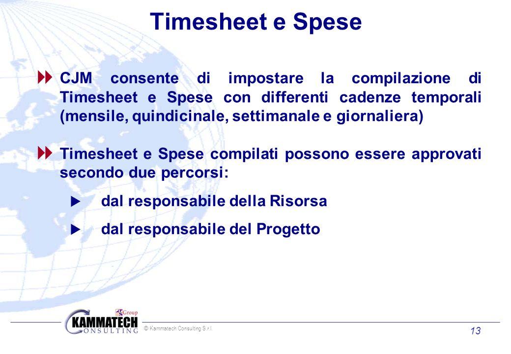 © Kammatech Consulting S.r.l. 13 Timesheet e Spese CJM consente di impostare la compilazione di Timesheet e Spese con differenti cadenze temporali (me