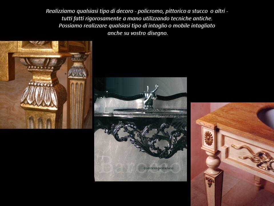 Realizziamo qualsiasi tipo di decoro - policromo, pittorico a stucco o altri - tutti fatti rigorosamente a mano utilizzando tecniche antiche.
