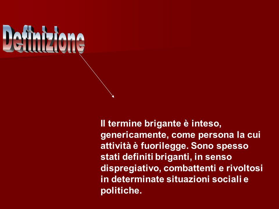 Fenomeno politico-sociale diffuso nelle campagne del Mezzogiorno all indomani dell unità d Italia nel 1861, che associò le forme tradizionali del ribellismo contadino a una violenta protesta contro il nuovo stato italiano, strumentalizzata dai Borbone di Napoli e dal governo pontificio.