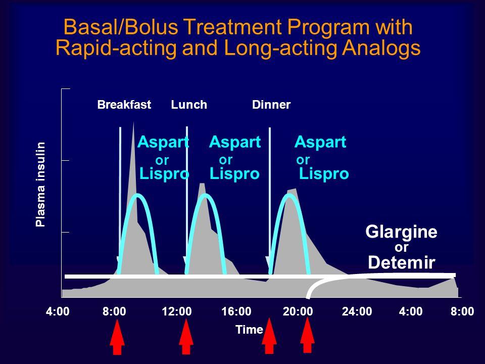 4:0016:0020:0024:004:00 BreakfastLunchDinner 8:00 12:008:00 Time Glargine or Detemir Lispro Lispro Lispro Aspart Aspart Aspart or Plasma insulin Basal/Bolus Treatment Program with Rapid-acting and Long-acting Analogs