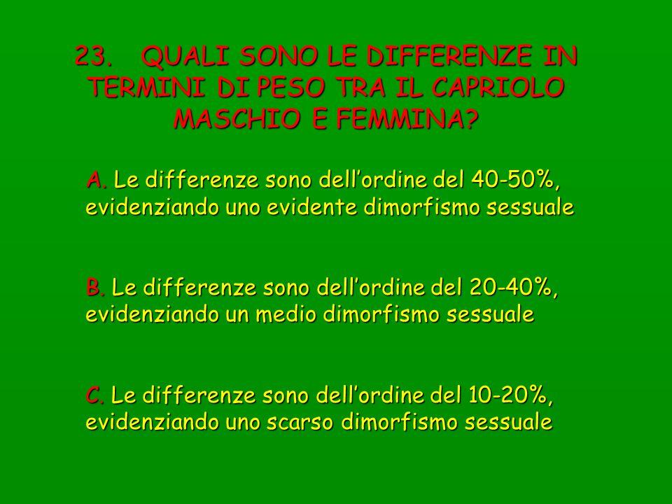 A. Le differenze sono dellordine del 40-50%, evidenziando uno evidente dimorfismo sessuale B. Le differenze sono dellordine del 20-40%, evidenziando u
