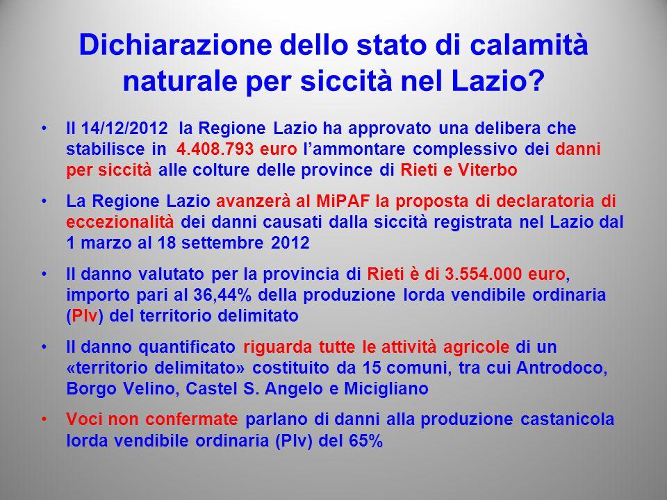 Dichiarazione dello stato di calamità naturale per siccità nel Lazio.
