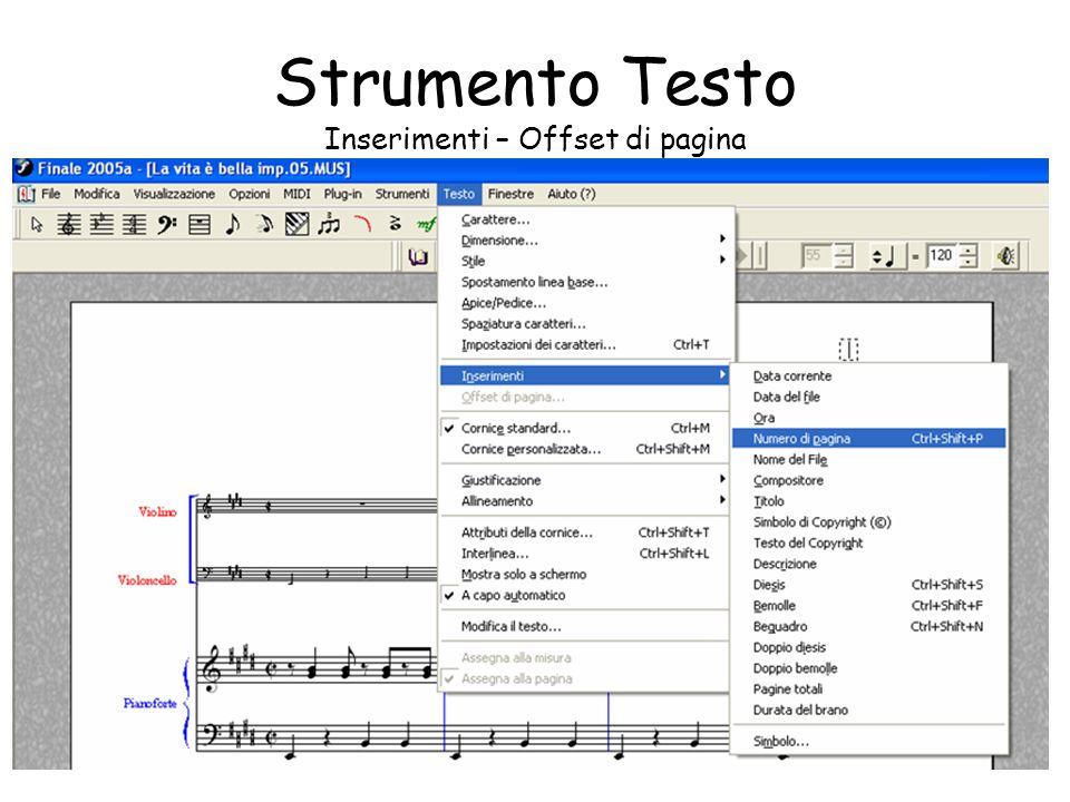 Inserimenti Dal menu Testo selez.inserimenti. Si accede al sottomenu.