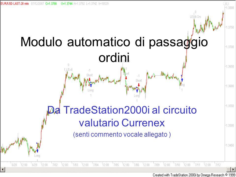 Modulo automatico di passaggio ordini Da TradeStation2000i al circuito valutario Currenex (senti commento vocale allegato )