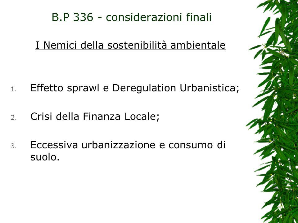 I Nemici della sostenibilità ambientale 1. Effetto sprawl e Deregulation Urbanistica; 2. Crisi della Finanza Locale; 3. Eccessiva urbanizzazione e con