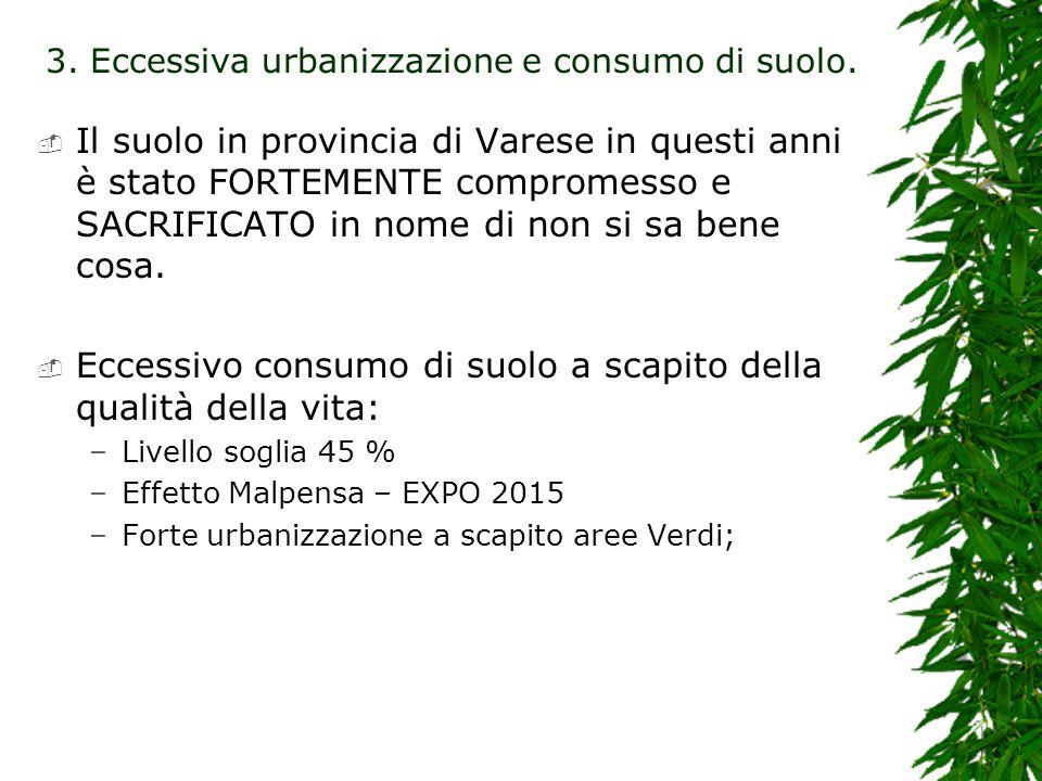 Il suolo in provincia di Varese in questi anni è stato FORTEMENTE compromesso e SACRIFICATO in nome di non si sa bene cosa. Eccessivo consumo di suolo