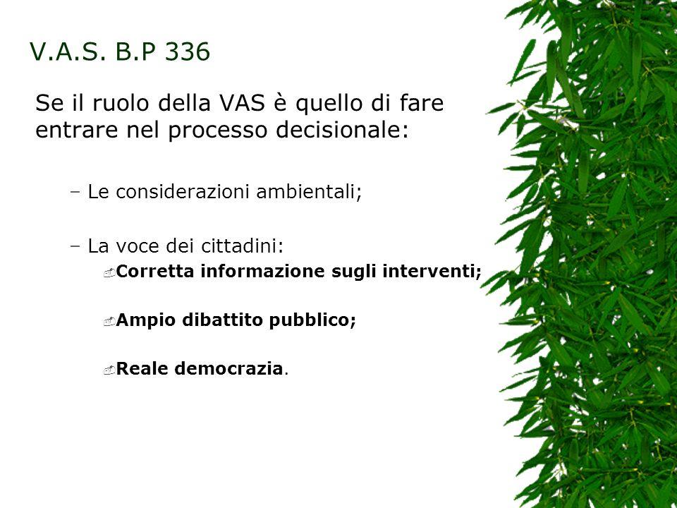 V.A.S. B.P 336 Se il ruolo della VAS è quello di fare entrare nel processo decisionale: – Le considerazioni ambientali; – La voce dei cittadini: Corre