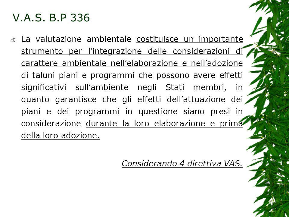 V.A.S. B.P 336 La valutazione ambientale costituisce un importante strumento per lintegrazione delle considerazioni di carattere ambientale nellelabor