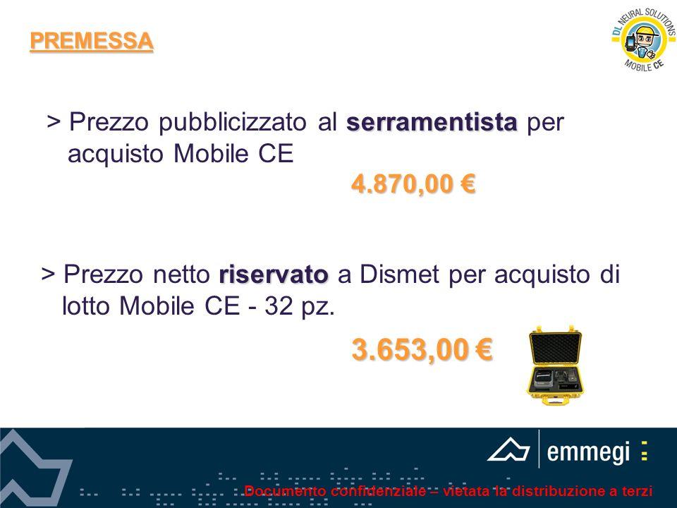 PREMESSA serramentista > Prezzo pubblicizzato al serramentista per acquisto Mobile CE 4.870,00 4.870,00 riservato > Prezzo netto riservato a Dismet pe