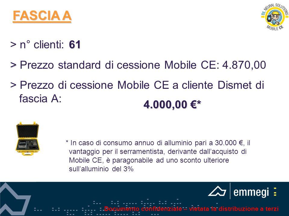 FASCIA A 61 > n° clienti: 61 > > Prezzo standard di cessione Mobile CE: 4.870,00 > Prezzo di cessione Mobile CE a cliente Dismet di fascia A: * In cas